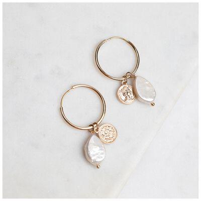 Freshwater Pearl & Coin Drop Earrings