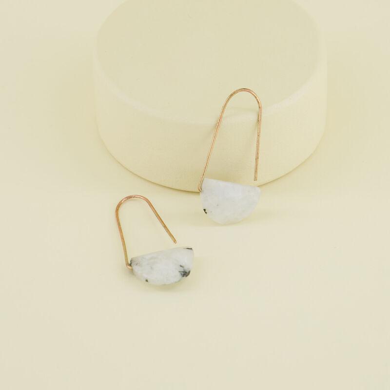 Natural Stone Halfmoon Hook Earrings  -  gold-white