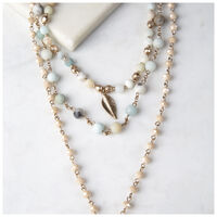 3-Piece Beaded Drop Necklace -  duck-egg-gold