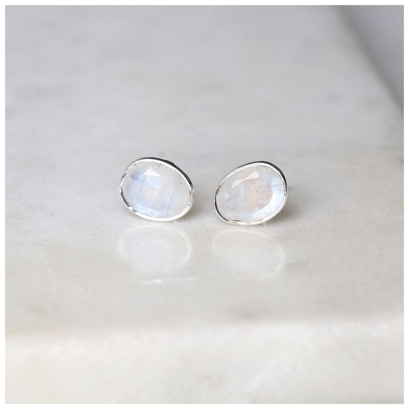 Organic Moonstone Stud Earrings -  milk-silver