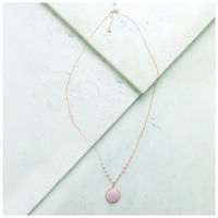 Long Stone Pendant Necklace -  gold-rose