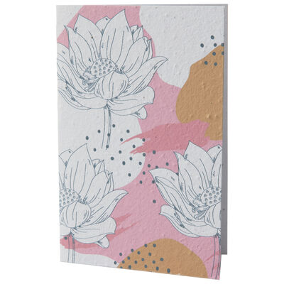 Growing Paper Pink and Ochre Flower Card
