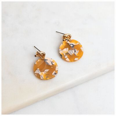 Knot & Resin Disc Drop Earrings