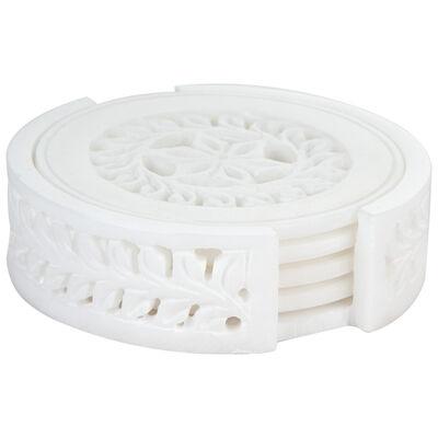 Alabaster Carved Coaster Set