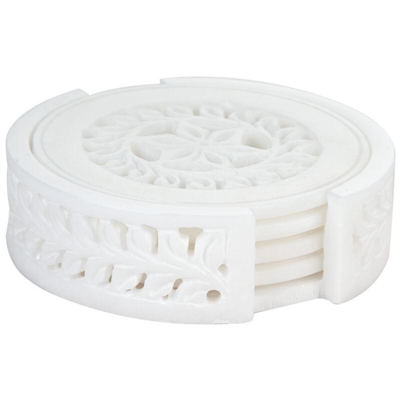 Alabaster Carved Coaster Set -  white