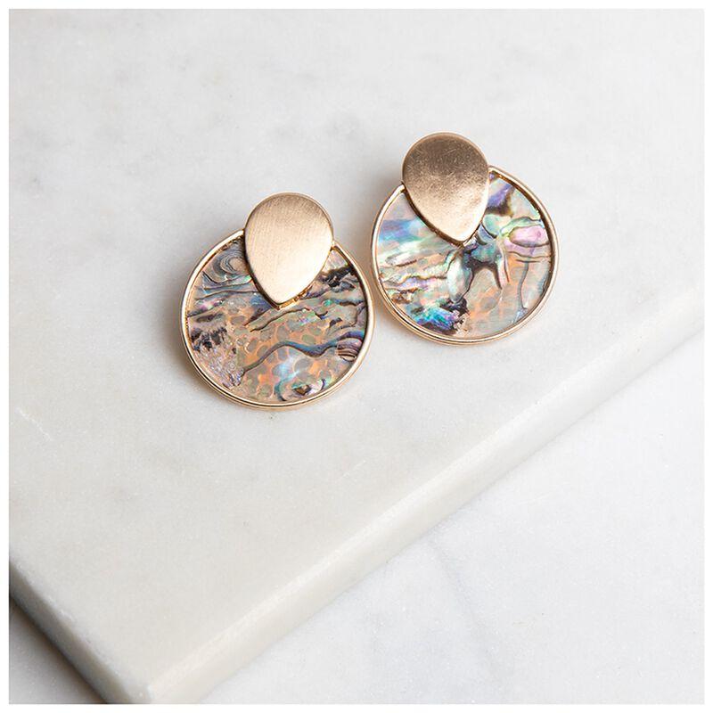 Shell Inset Disc Earrings -  gold-green