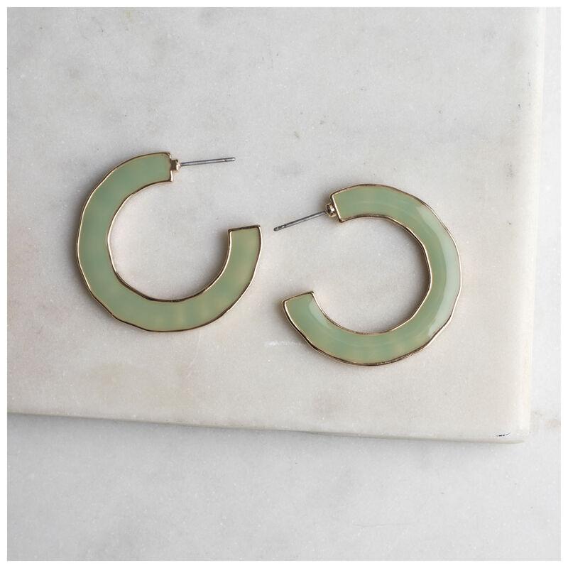 Side Detail Hoop Earrings -  sage-gold