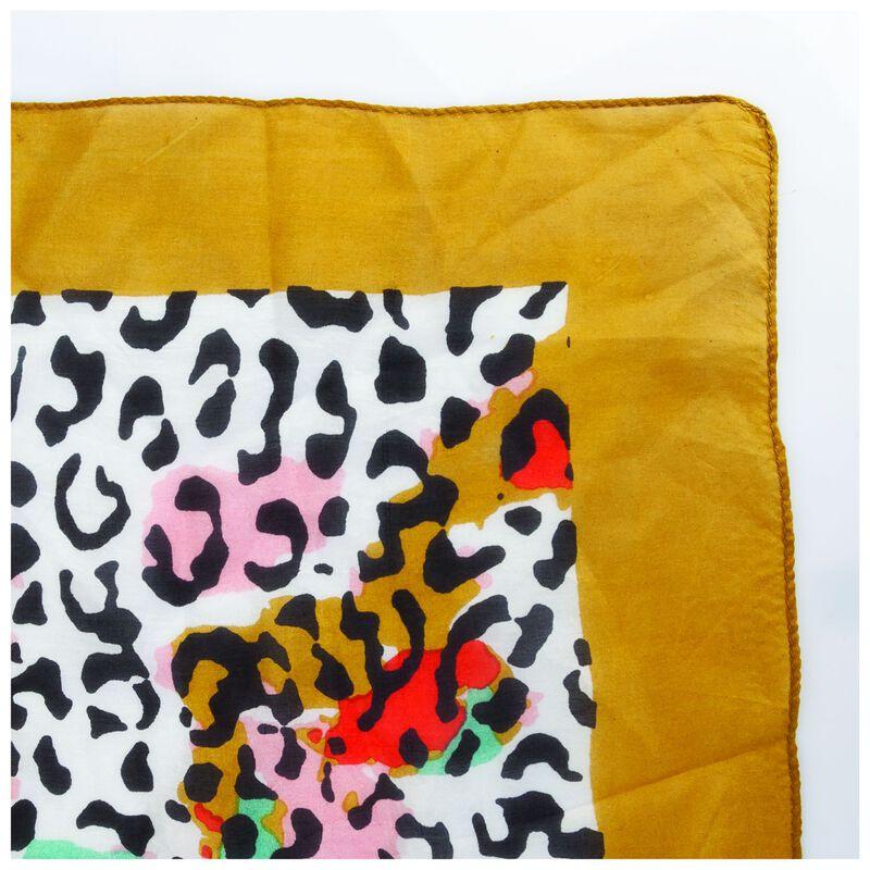 Sierra Animal Print & Border Silk Scarf -  milk-gold