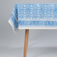 Blue and White Tablecloth -  blue-white