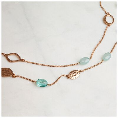 Glass Bead & Disk Satellite Necklace