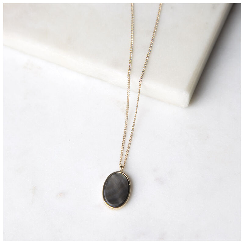 Oval Shell Pendant Necklace -  charcoal-gold