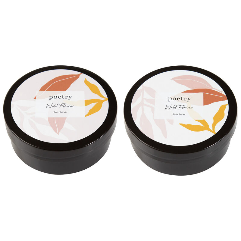 Wild Flower Body Butter & Scrub Gift Set -  pink-ochre
