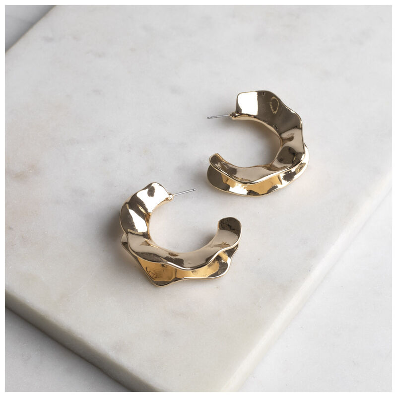 Textured Hoop Earrings -  gold