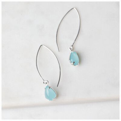 Chalcedony Diamond Shape Drop Earrings