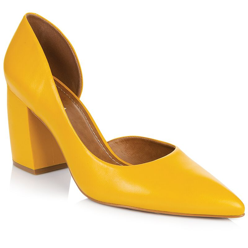GIANNA Curved Block Heel -  yellow