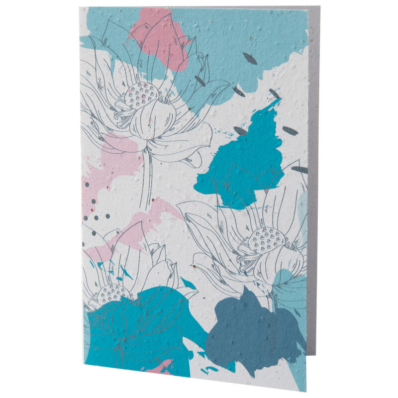 Growing Paper Blue and Pink Flower Card -  blue-pink
