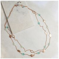 Glass Bead & Disk Satellite Necklace -  gold-turquoise