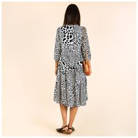 Alsabe Leopard-Print Tiered Dress -  black