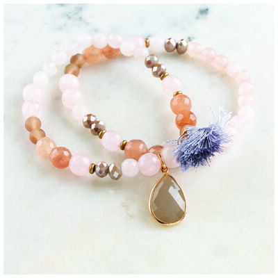 Double Strand Stone & Tassel Stretch Bracelet