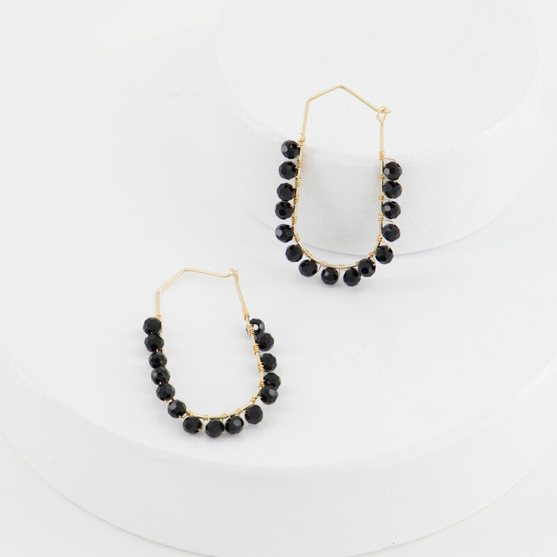 Oval Beaded Hoop Earrings -  black