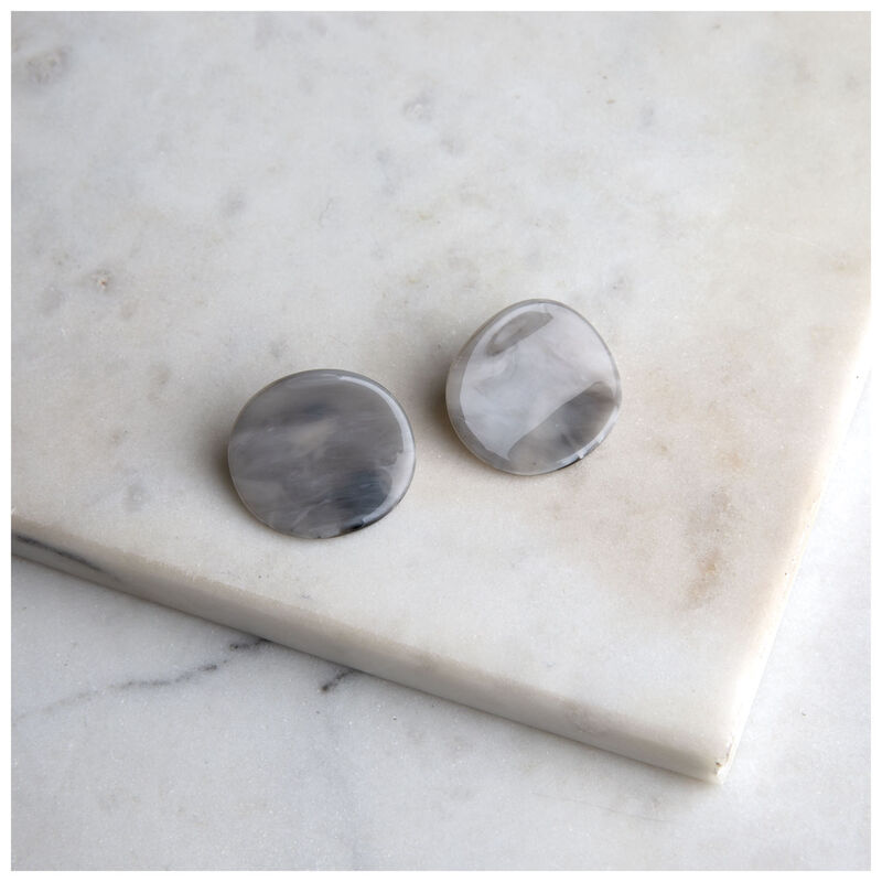 Resin Disc Stud Earrings -  green