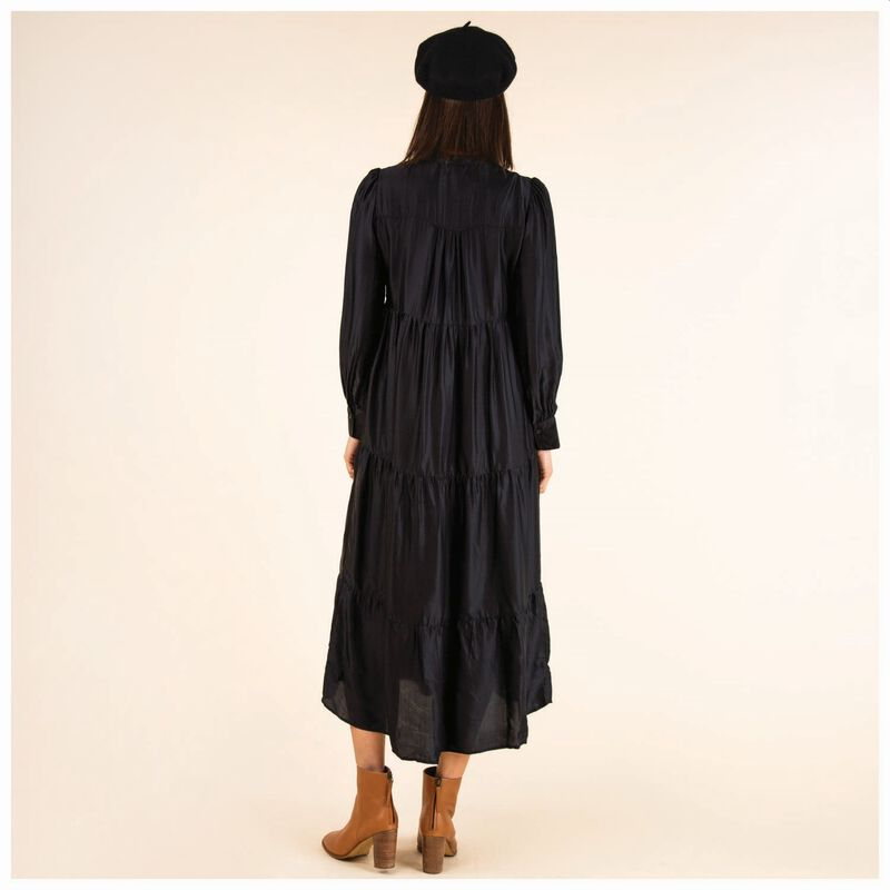 Laurie Tiered Dress -  black