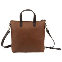 Colene Leather Small Shopper Bag -  tan-brown