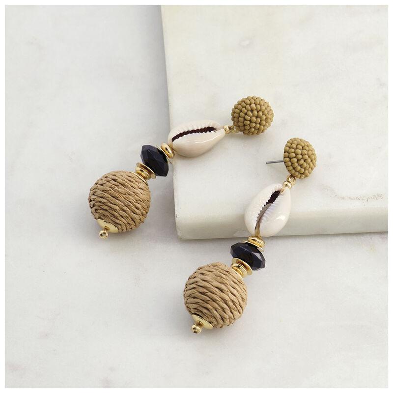 Raffia & Shell Bauble Earrings -  stone-gold