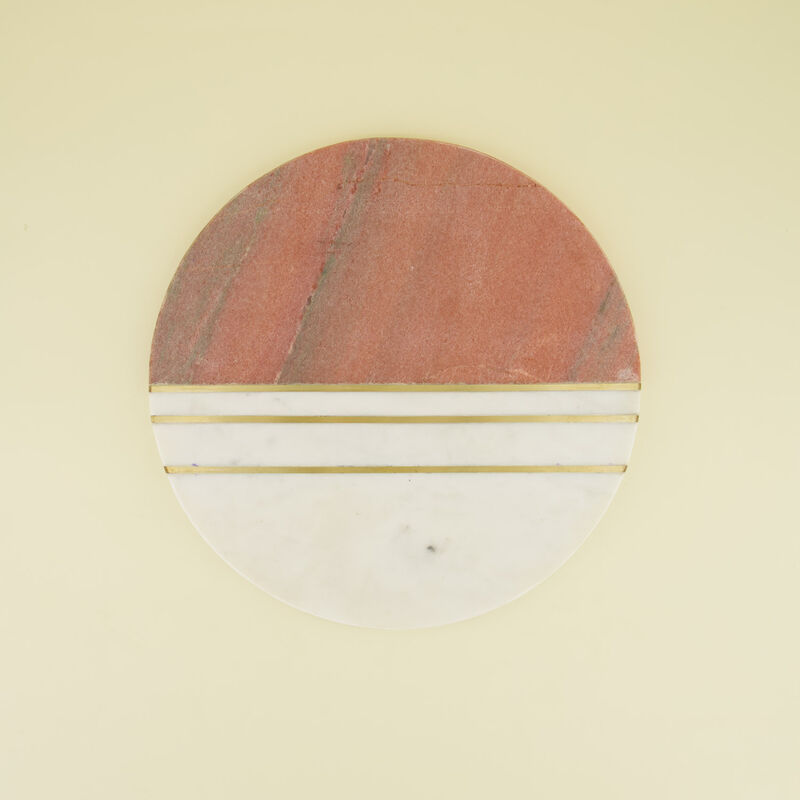 Pink & White Round Marble Board with Brass Strips -  pink-white