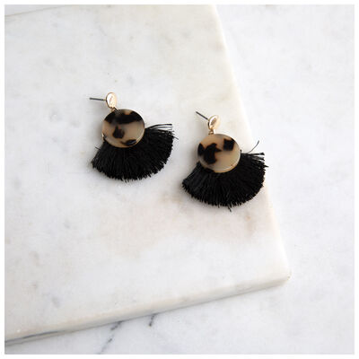 Resin & Tassel Fan Earrings