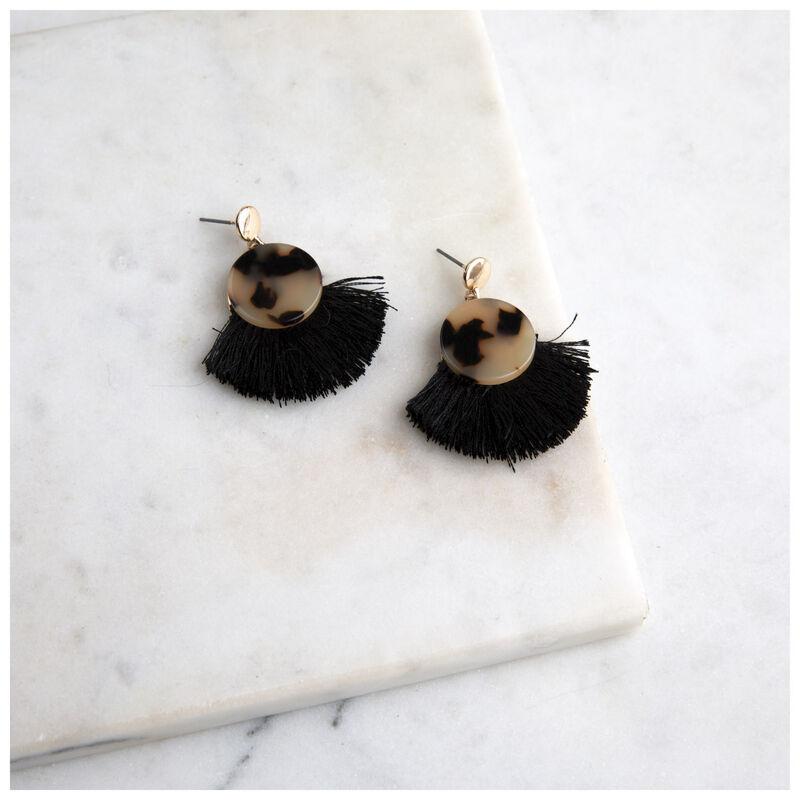 Resin & Tassel Fan Earrings -  gold-brown