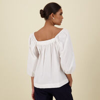 Corinne Cotton Top -  white