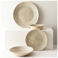 Wonki Ware 16-Piece Mixed-Patterned Dinner Set -  grey