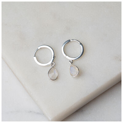 Silver & Moonstone Teardrop Huggie Mini Drop Earrings