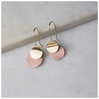 Soft Finish Disc Drop Earrings -  lightpink-sage