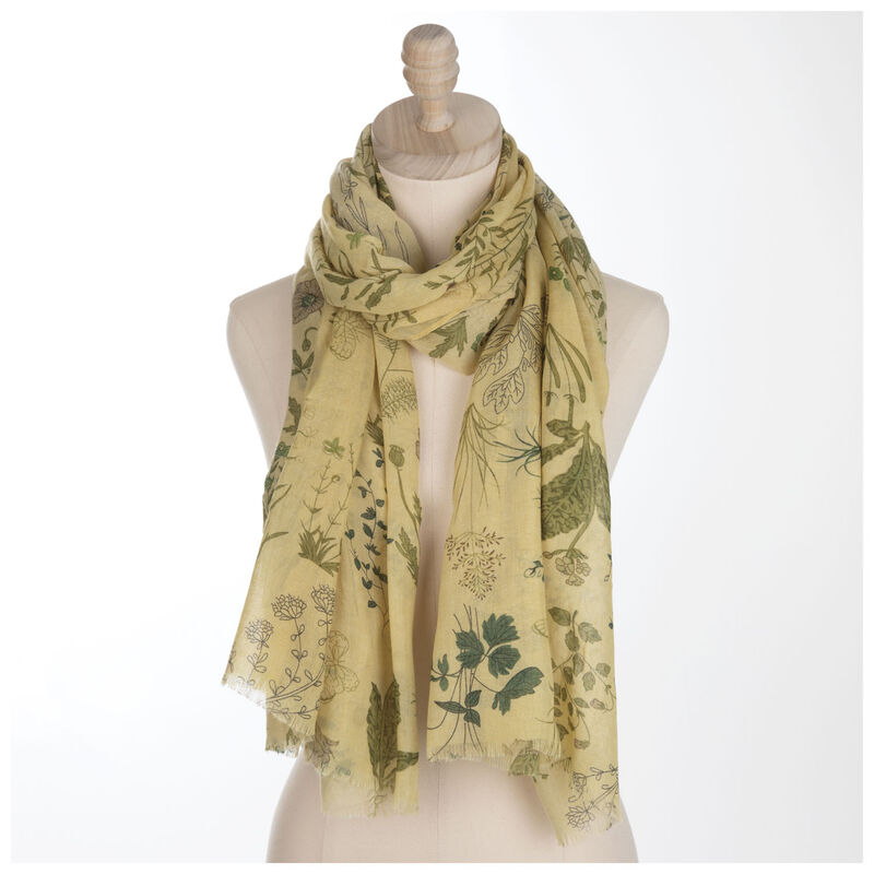 Christine Floral Scarf -  yellow-green