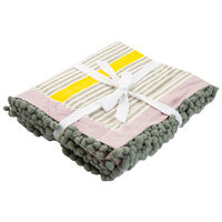 Stripe Tablecloth with Pompom Detail -  yellow-pink