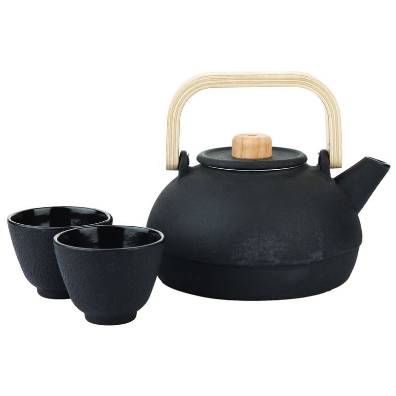 Black Cast Iron Teapot with Bamboo Handle & 2 cups -  black