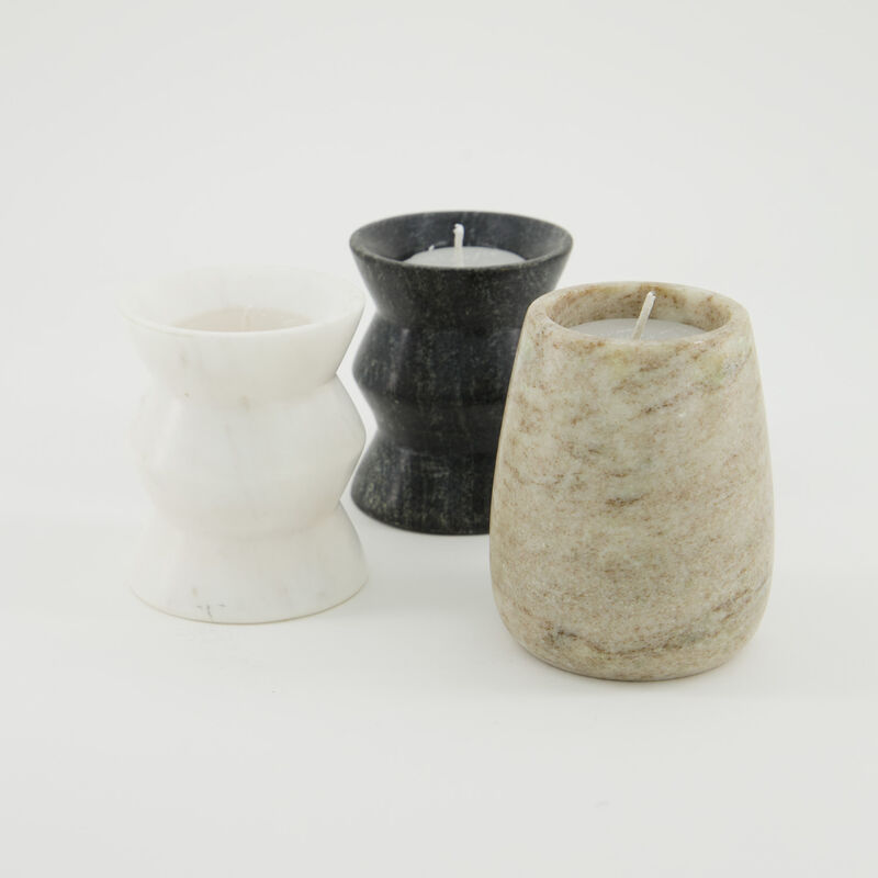 Small Abstract Marble Candle  -  c01