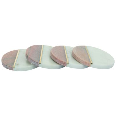 White Marble and Brass Coaster Set of Four