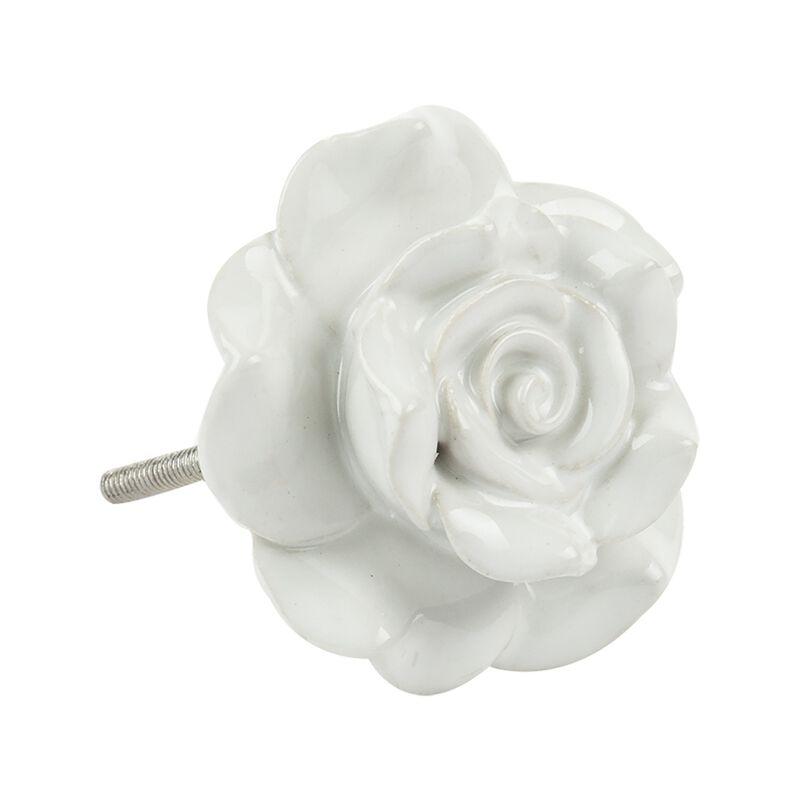 Rose shape Doorknob -  white-white