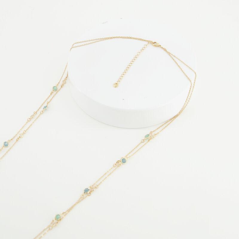 Tiny Glass Stone Satellite Necklace -  c54