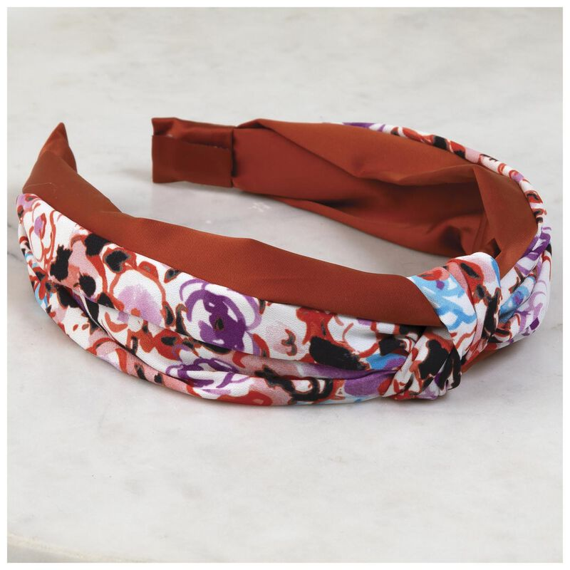 Kadie Knotted Floral Alice Band -  assorted-rust