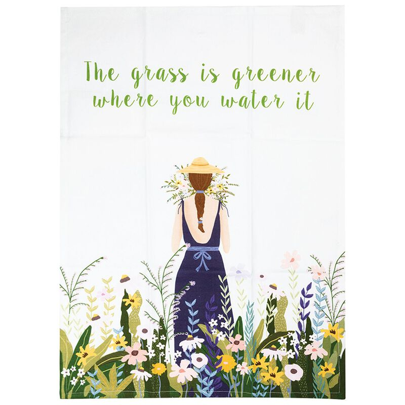 The Grass is Greener Where You Water It Tea Towel -  green