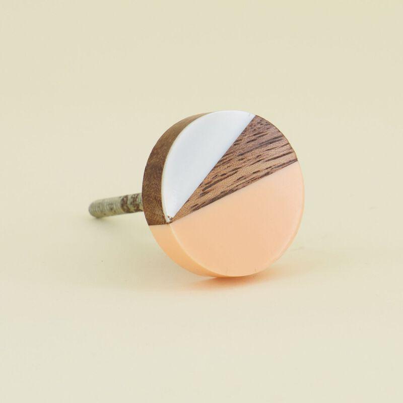 Pink & White Resin & Wood Knob -  dc3309