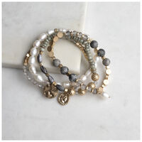 Stone & Pearl Stretchy Bracelet Set -  grey-gold