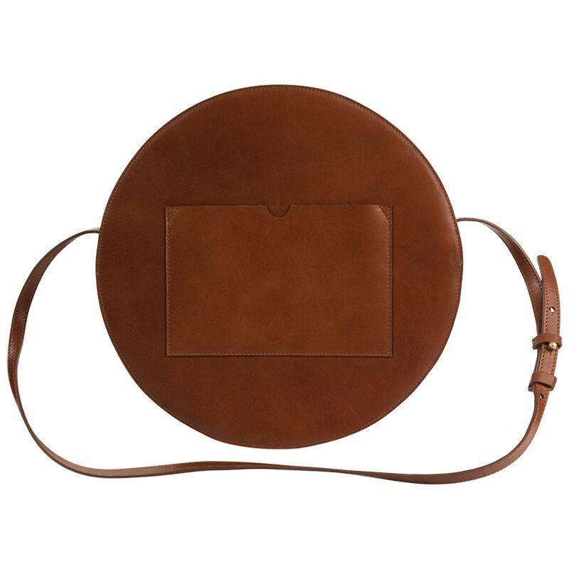 Brook Round Leather Bag -  brown-brown