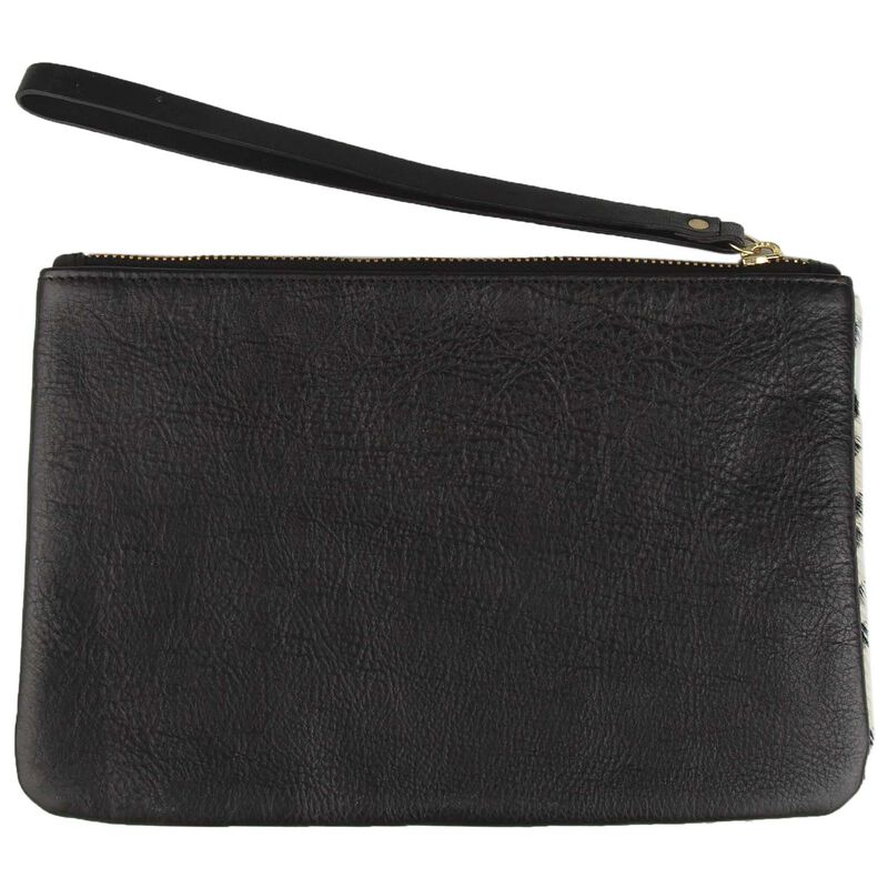 Guiliana Leather Colourblock Pouch -  black-assorted