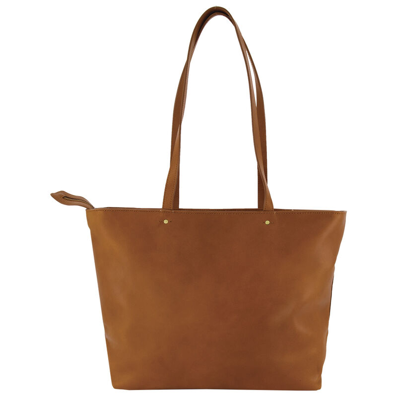 Emily Leather Tote Bag -  tan