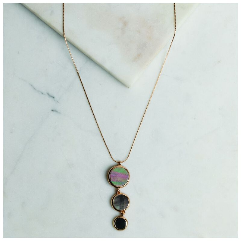 Shell Disk Pendant Necklace -  gold-grey